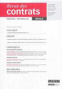 Revue des contrats. n° 3 (2015)