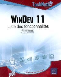 WinDev 11 : liste des fonctionnalités (PC Soft ouvrage agréé)
