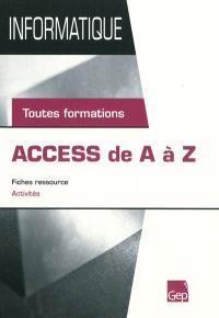 Access de A à Z : fiches ressource, activités : toutes formations
