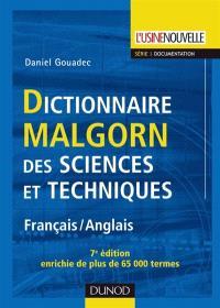 Dictionnaire Malgorn des sciences et techniques : français-anglais