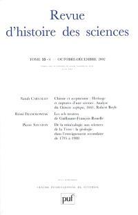Revue d'histoire des sciences. n° 4 (2002)