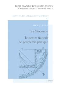 Fra Giocondo et les textes français de géométrie pratique