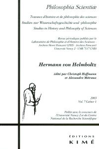 Philosophia scientiae. n° 7-1, Hermann von Helmholtz