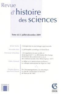 Revue d'histoire des sciences. n° 62-2
