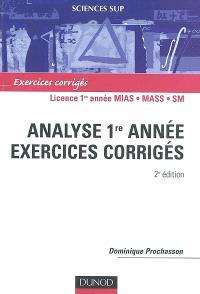 Analyse 1re année : exercices corrigés : licence 1re année MIAS, MASS, SM