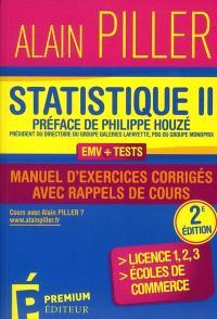 Statistique : manuel d'exercices corrigés avec rappels de cours. Volume 2
