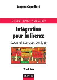Intégration, pour la licence : cours avec exercices corrigés
