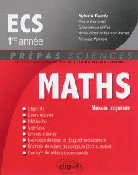 Maths ECS, 1re année : nouveau programme