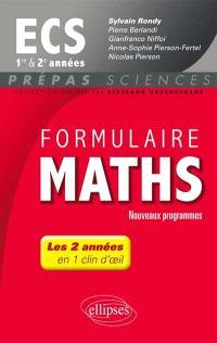 Formulaire maths ECS 1re et 2e années