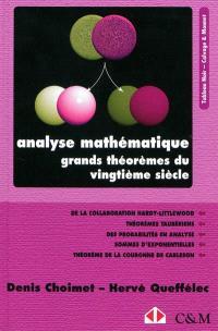 Analyse mathématique : grands théorèmes du vingtième siècle