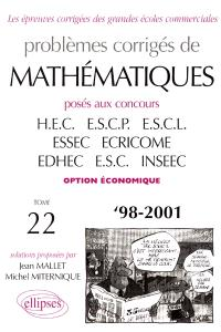 Annales de mathématiques HEC - option éco : best of 1998-2001