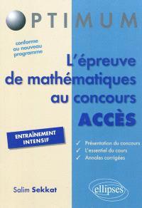 L'épreuve de mathématiques au concours Accès