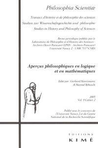 Philosophia scientiae. n° 9-2, Aperçus philosophiques en logique et en mathématiques