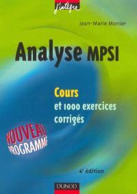 Analyse MPSI : cours et 1.000 exercices corrigés