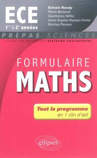 Formulaire maths ECE 1re et 2e années