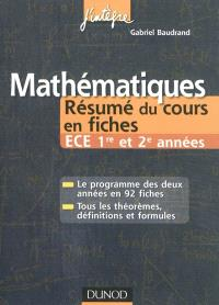 Mathématiques : résumés du cours en fiches : ECE 1re et 2e années