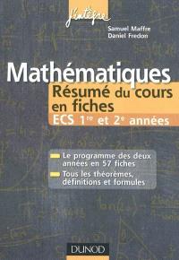 Mathématiques : résumés du cours en fiches ECS 1re et 2e années