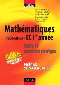 Mathématiques tout-en-un 1re année EC : cours et exercices corrigés