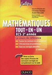 Mathématiques tout-en-un, ECS 2e année : cours et exercices corrigés : prépas commerciales