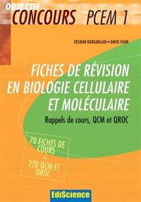 Fiches de révision en biologie cellulaire et moléculaire : rappel de cours, QCM et QROC corrigés