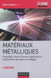 Matériaux métalliques : propriétés, mise en forme et applications industrielles des métaux et alliages