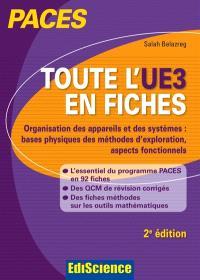 Toute l'UE3 en fiches PACES : organisation des appareils et des systèmes : bases physiques des méthodes d'exploration, aspects fonctionnels
