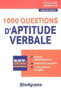 1.000 questions d'aptitude verbale : concours orthophoniste