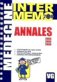 Annales 2004, 2005, 2006 : statistiques des sujets tombés, annales des ECN, textes officiels indispensables, conseils méthodologiques