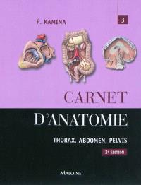 Carnet d'anatomie. Volume 3, Thorax, abdomen, pelvis
