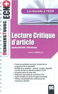 Lecture critique d'article : annales ECN 2009-2010 incluses