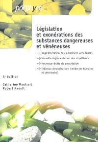 Législation et exonérations des substances dangereuses et vénéneuses : tableaux officiels