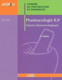 Pharmacologie BP : classes pharmacologiques