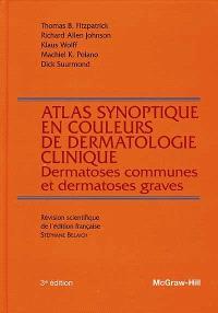Atlas synoptique en couleurs de dermatologie clinique : dermatoses communes et dermatoses graves