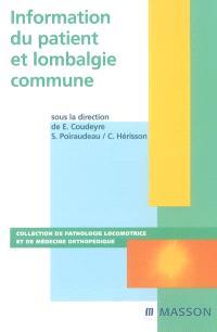 Information du patient et lombalgie commune