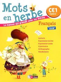 Mots en herbe, français, CE1 cycle 2