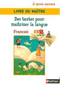 A livre ouvert, livre du maître CE2