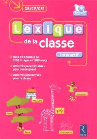Lexique de la classe interactif, GS-CP-CE1