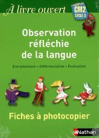 A livre ouvert CM2, cycle 3 : fiches à photocopier observation réfléchie de la langue : entraînement, différenciation, évaluation