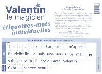 Valentin le magicien : étiquettes-mots : élève
