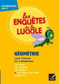 Les enquêtes de la luciole, cycle 3, Géométrie : Lucie traverse les 3 dimensions