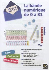 Mission maths PS, MS, GS : la bande numérique de 0 à 31 : dater, ordonner, dénombrer