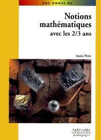 Notions mathématiques pour les 2-3 ans