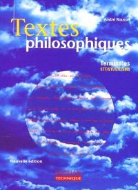 Textes philosophiques, terminale STT, STI, STL, SMS : livre de l'élève