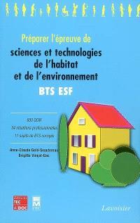 Préparer l'épreuve de sciences et technologies de l'habitat et de l'environnement, BTS ESF