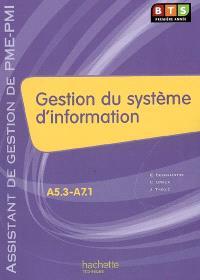 A5.3-A7.1 Gestion du système d'information, BTS première année assistant de gestion PME-PMI