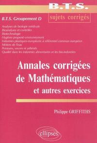 Annales corrigées de mathématiques et autres exercices, BTS groupement D