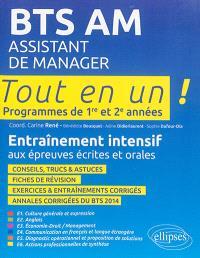 BTS AM, assistant de manager : programme de 1re et 2e années : entraînement intensif aux épreuves écrites et orales