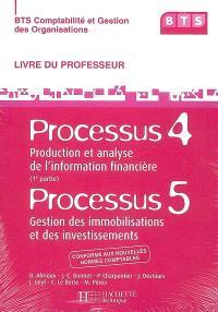 BTS comptabilité et gestion des organisations : processus 5, gestion des immobilisations et des investissements, processus 4, 1re partie, production et analyse de l'information financière : livre du professeur