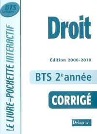 Droit, BTS tertiaires 2e année : corrigé : livre du professeur