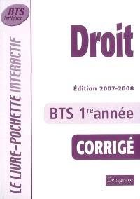 Droit, BTS tertiaires 1re année : corrigé